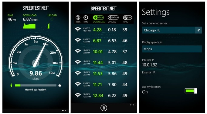 SpeedTest Screens