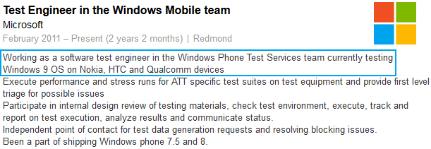 Windows Phone 9 job