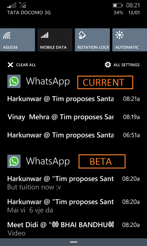 WhatsApp Beta notifiche Windows Phone