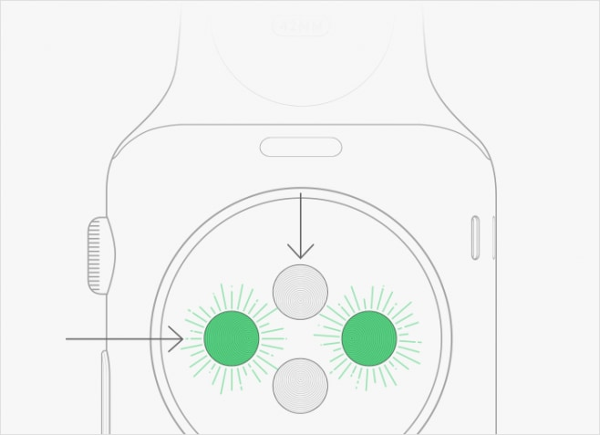 Apple Watch sensore battito cardiaco luce LED verde
