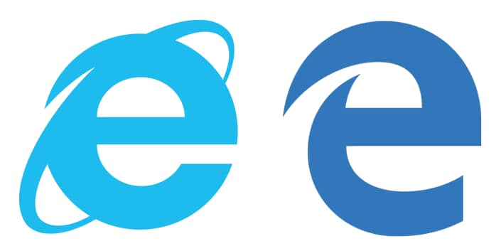 Internet Explorer vs Microsoft Edge logo