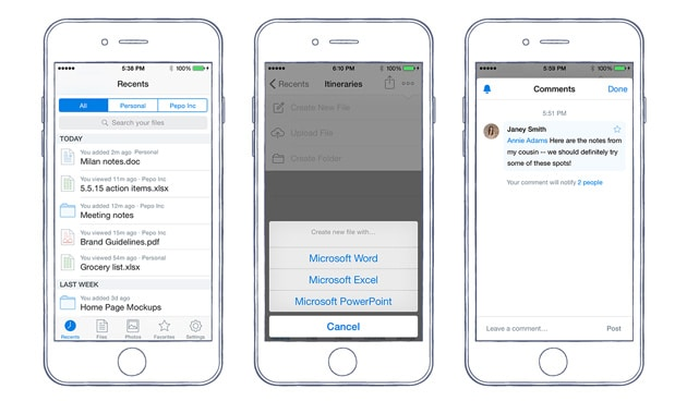 Dropbox iOS nuovi file Office