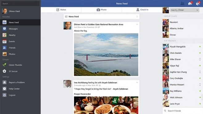 Facebook Win8 screenshot