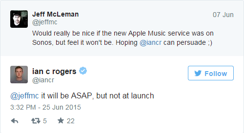 Apple Music - Ian Rogers - Sonos -Twitter