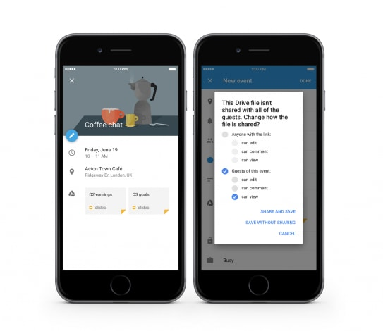 Google Calendar iPhone eventi file Drive