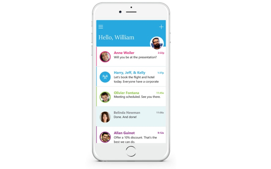 Microsoft Send iOS email chat