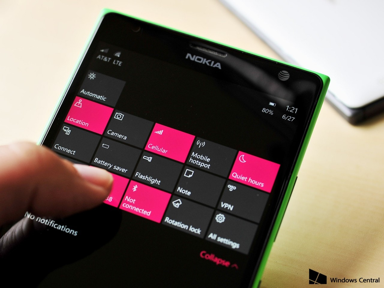Windows 10 Mobile - quick actions