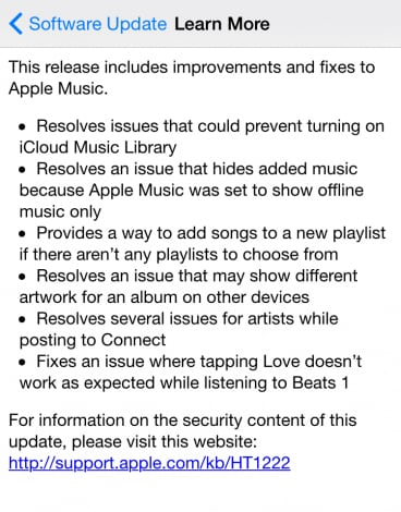 iOS 8.4.1 changelog