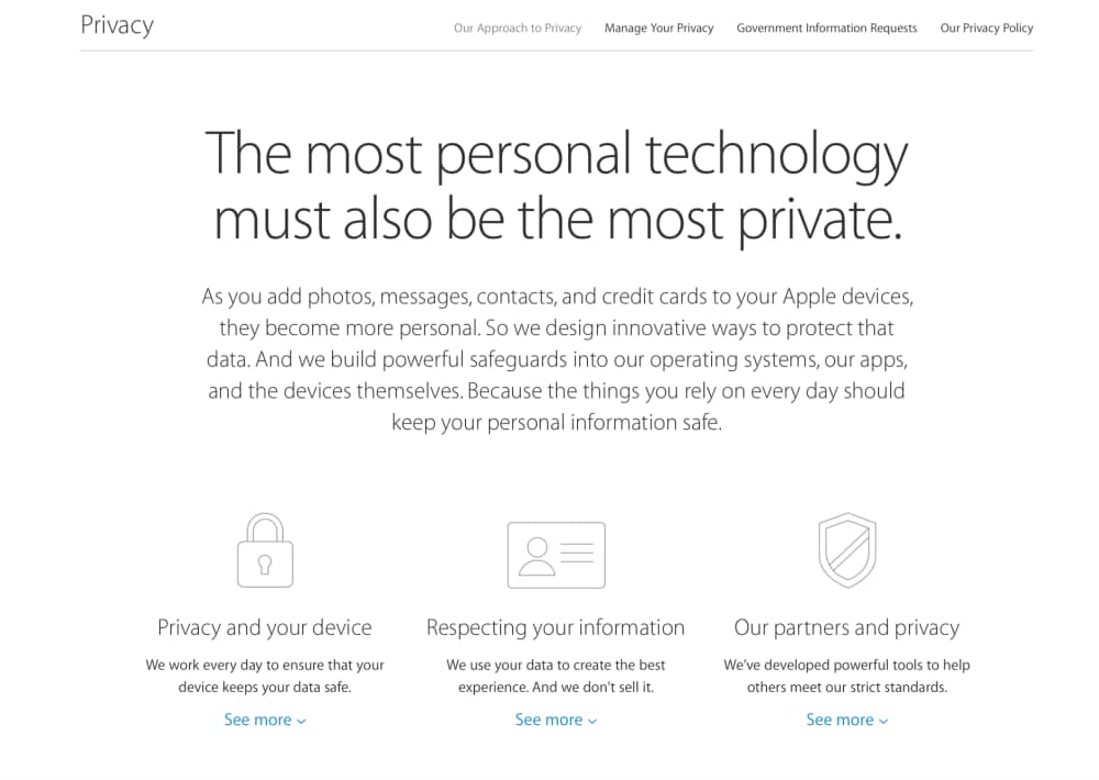 Apple pagina privacy