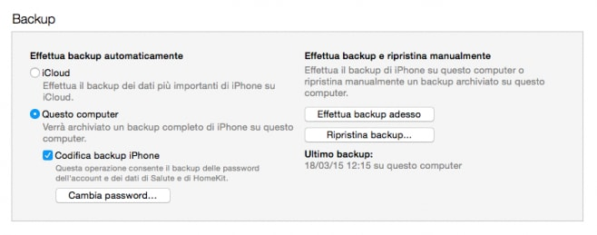 Backup iTunes iPhone