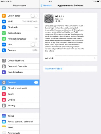 iOS 9.0.1 iPad Mini