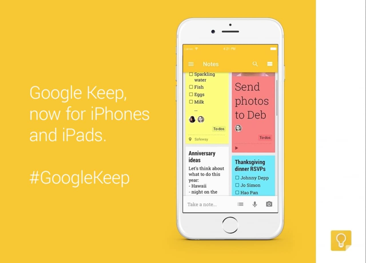 Google Keep iOS iPhone iPad