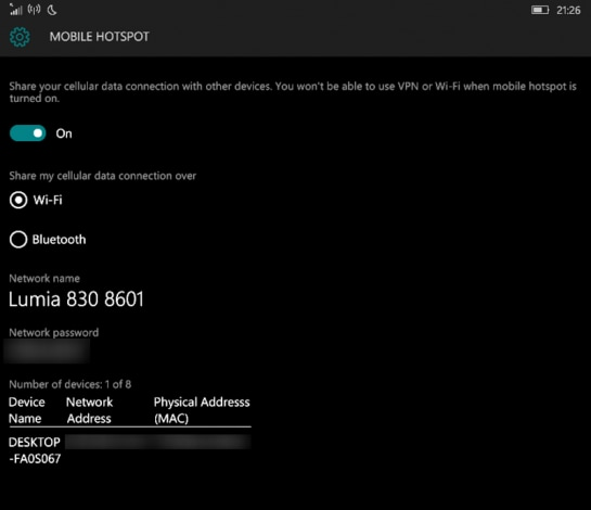 Mobile Hotspot Windows 10 Mobile