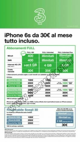 Iphone 6s con 3 italia da 30 tutto incluso mobileworld for Iphone x 3 italia