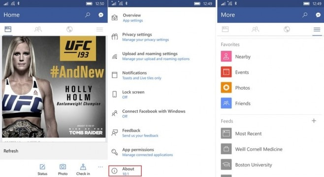 Facebook - app Windows 10 Mobile screenshot