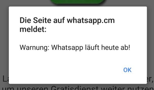 finto pop-up whatsapp