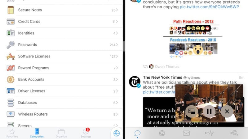 iOS 9 - iPad - multitasking con 3 app
