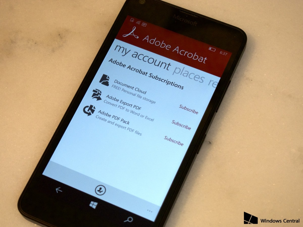 Adobe Acrobat Reader Lumia Windows Phone