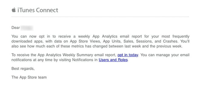 Apple App Store mail settimanale