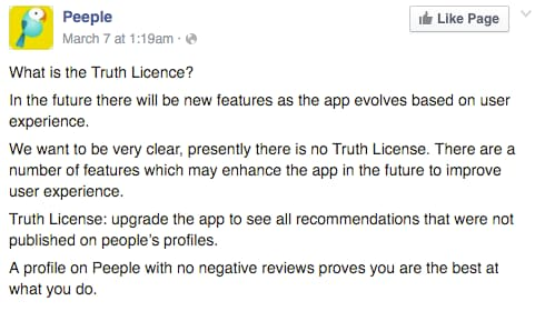 Peeple screenshot facebook Truth Licence