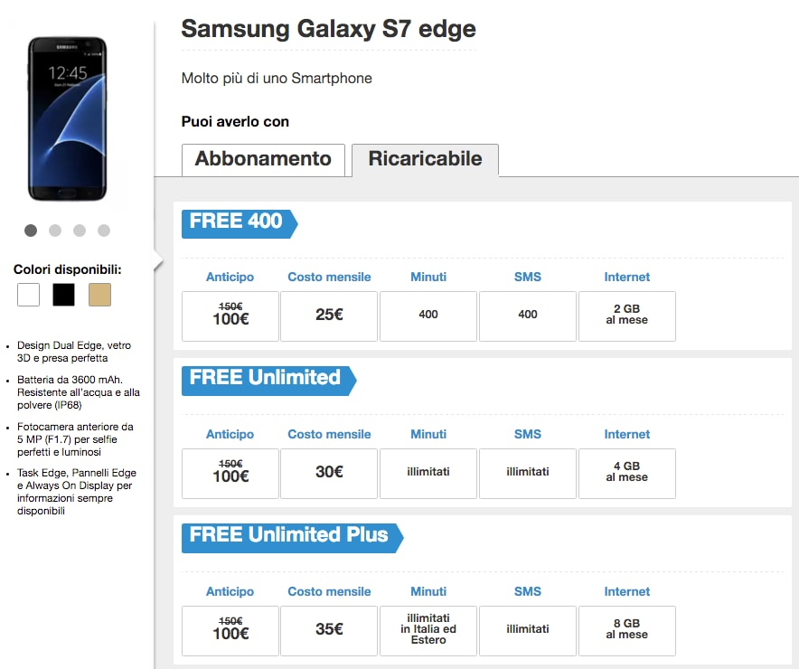 galaxy s7 edge tre free ricaricabile