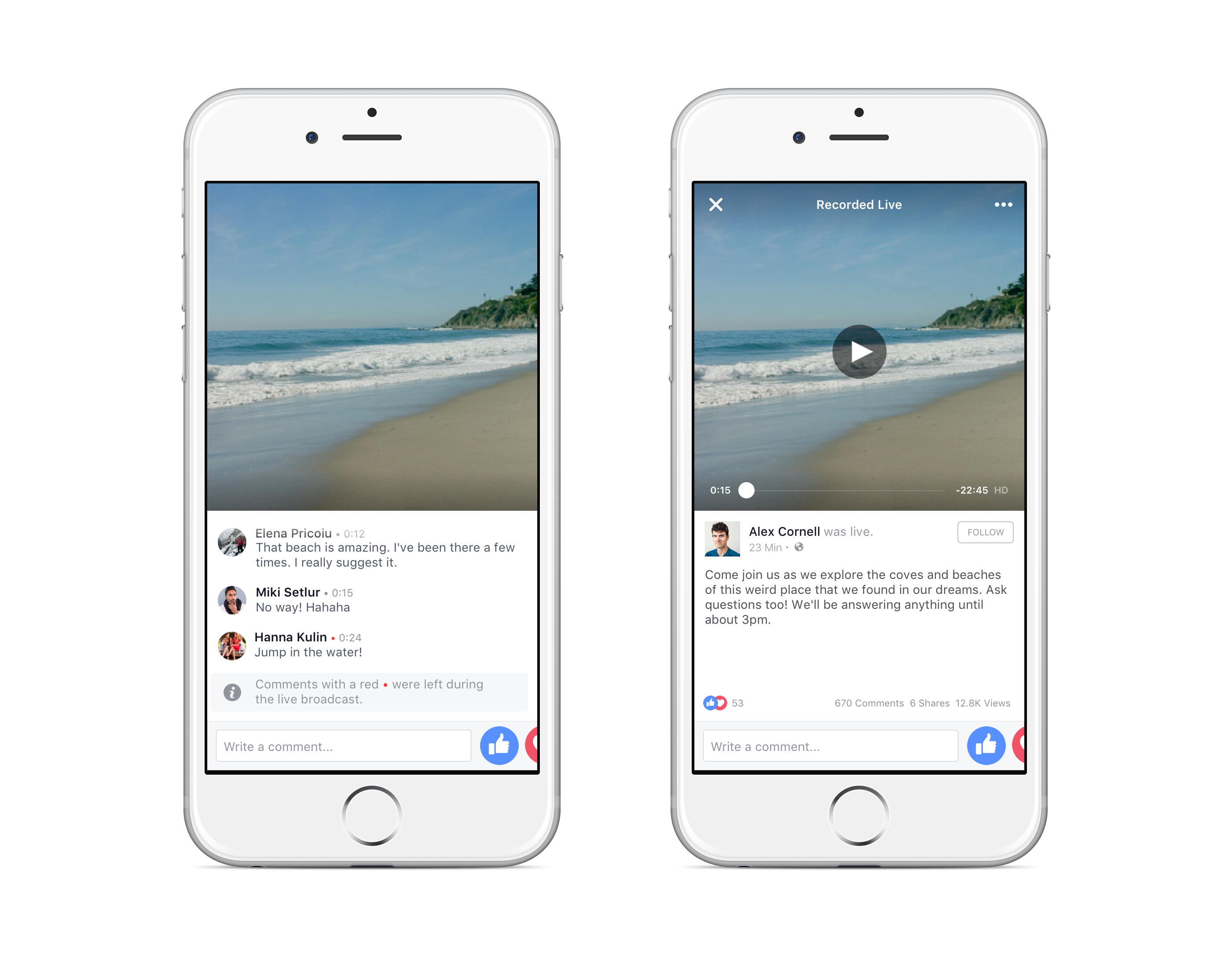 Facebook Live VOD Comments iOS