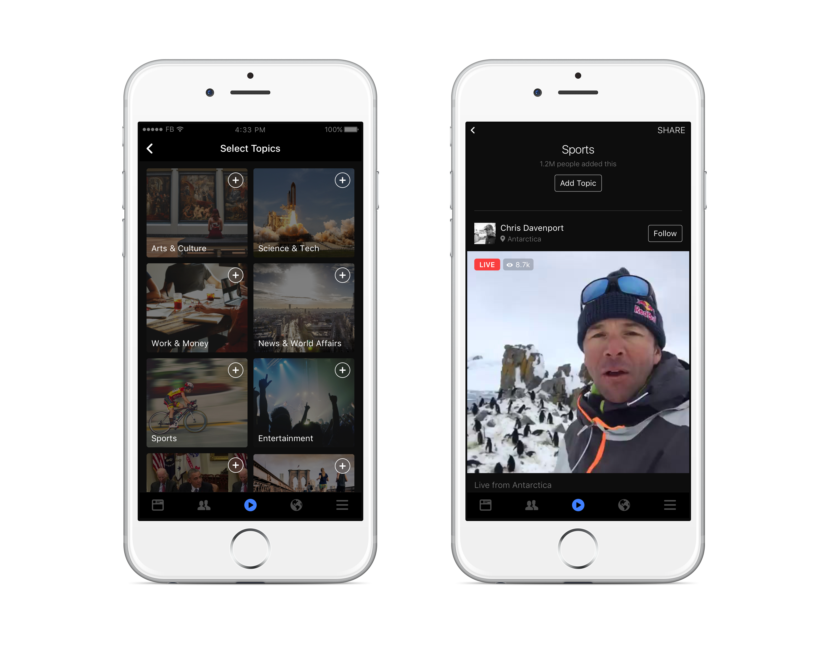 Facebook Live Video Topic Feeds iOS