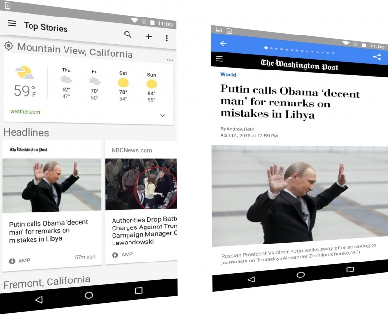 Google News sposa le Accelerated Mobile Pages, sia da browser che nelle app per Android ed iOS