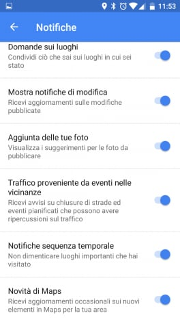 Notifiche Google maps