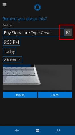 aggiungere reminder cortana Windows 10 Mobile Build 14322