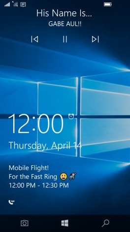 controlli multimediali Lock Screen Windows 10 Mobile Build 14322