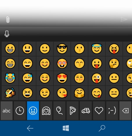 emoji Windows 10 Mobile Build 14322
