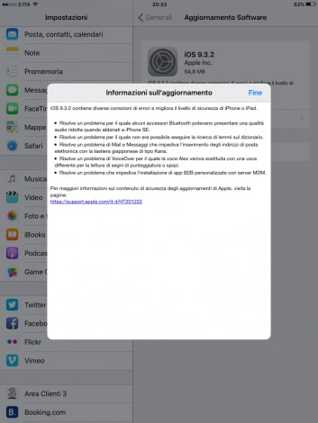 Changelog iOS 9.3.2