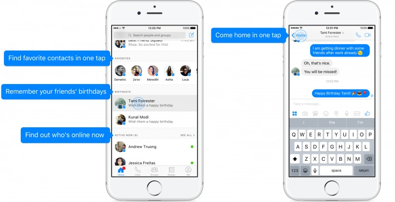 Facebook Messenger nuova interfaccia