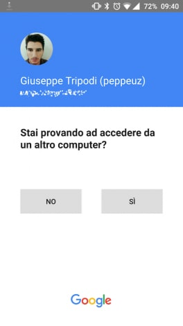 Google verifica due passaggi screenshot