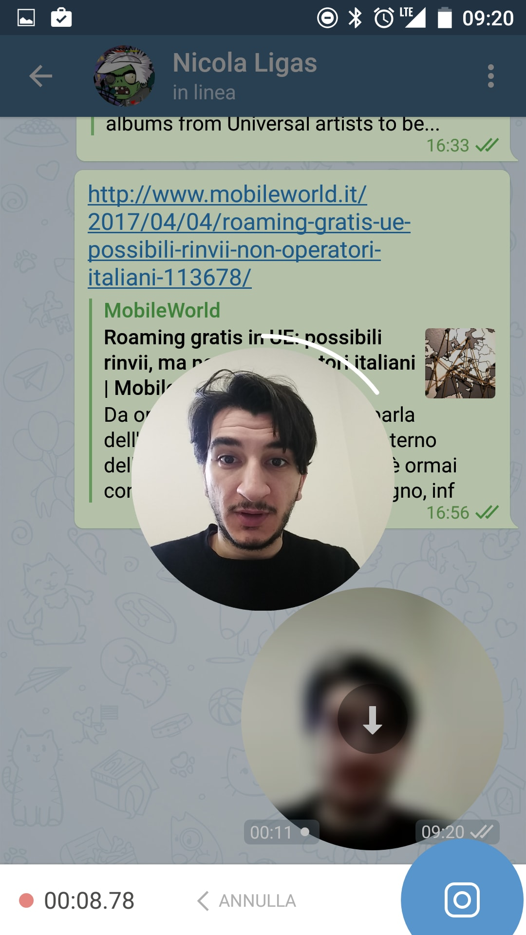 Telegram Beta video messaggi – 2