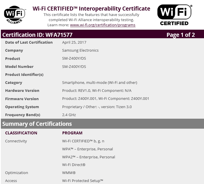 Wi-Fi-certification-for-the-Samsung-Z4